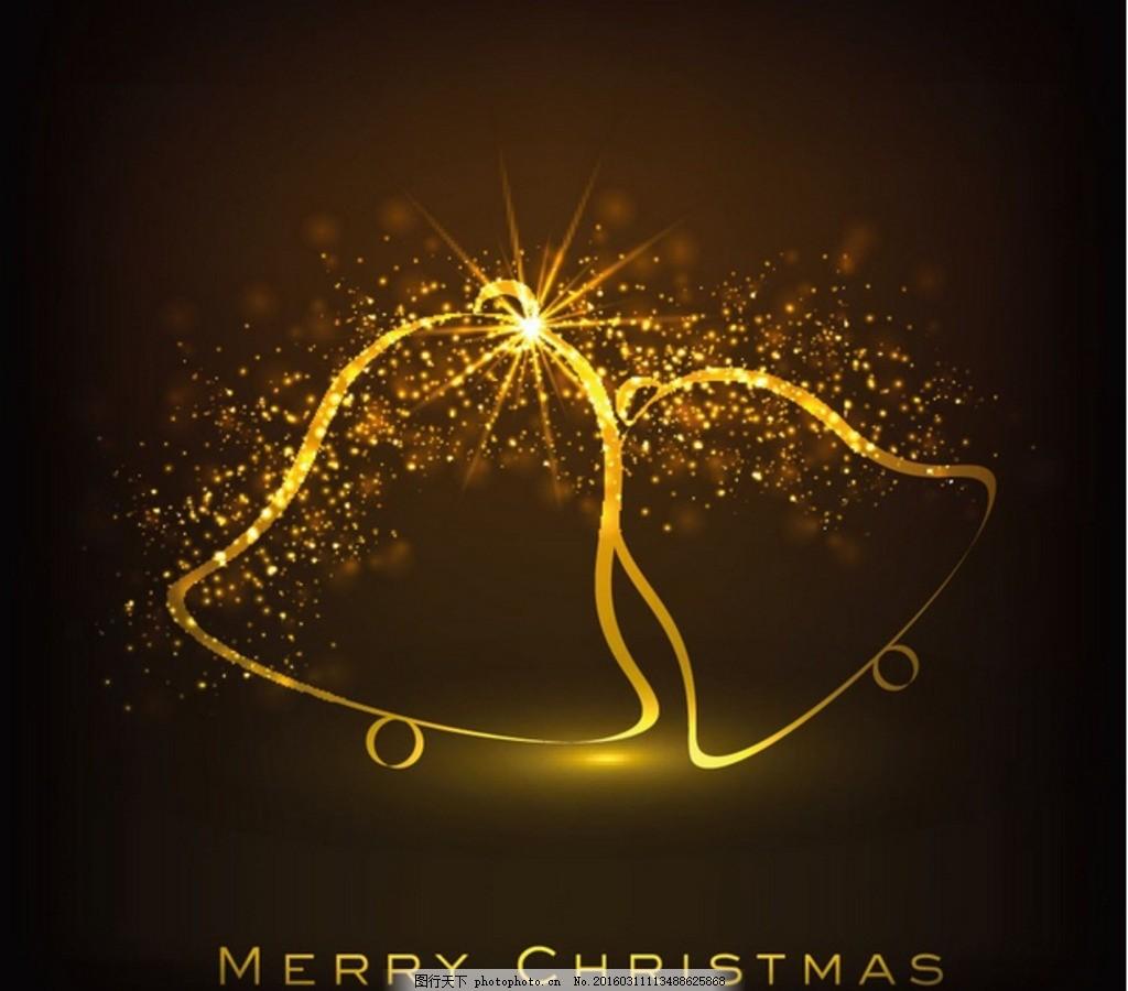 金色 抽象 线条 铃铛 诞节 装饰 merry christmas 节日素材 平安夜 圣