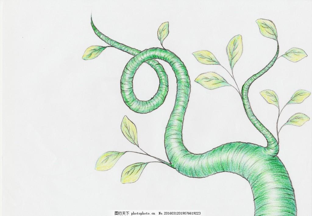 手绘藤蔓 手绘 彩铅 藤蔓 画画 少女 梦幻 幻想 童话 手绘 设计 文化