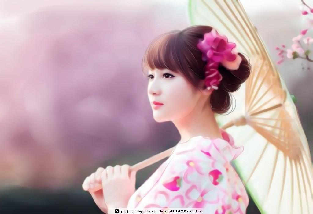 古风转手绘 美女 粉色 油纸伞 花 盘发