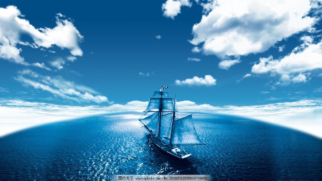 帆船手绘电脑壁纸