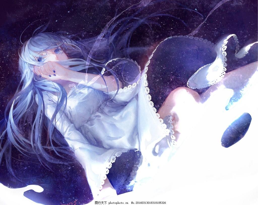星空 蓝色 女孩 墙纸 高清 动漫动画