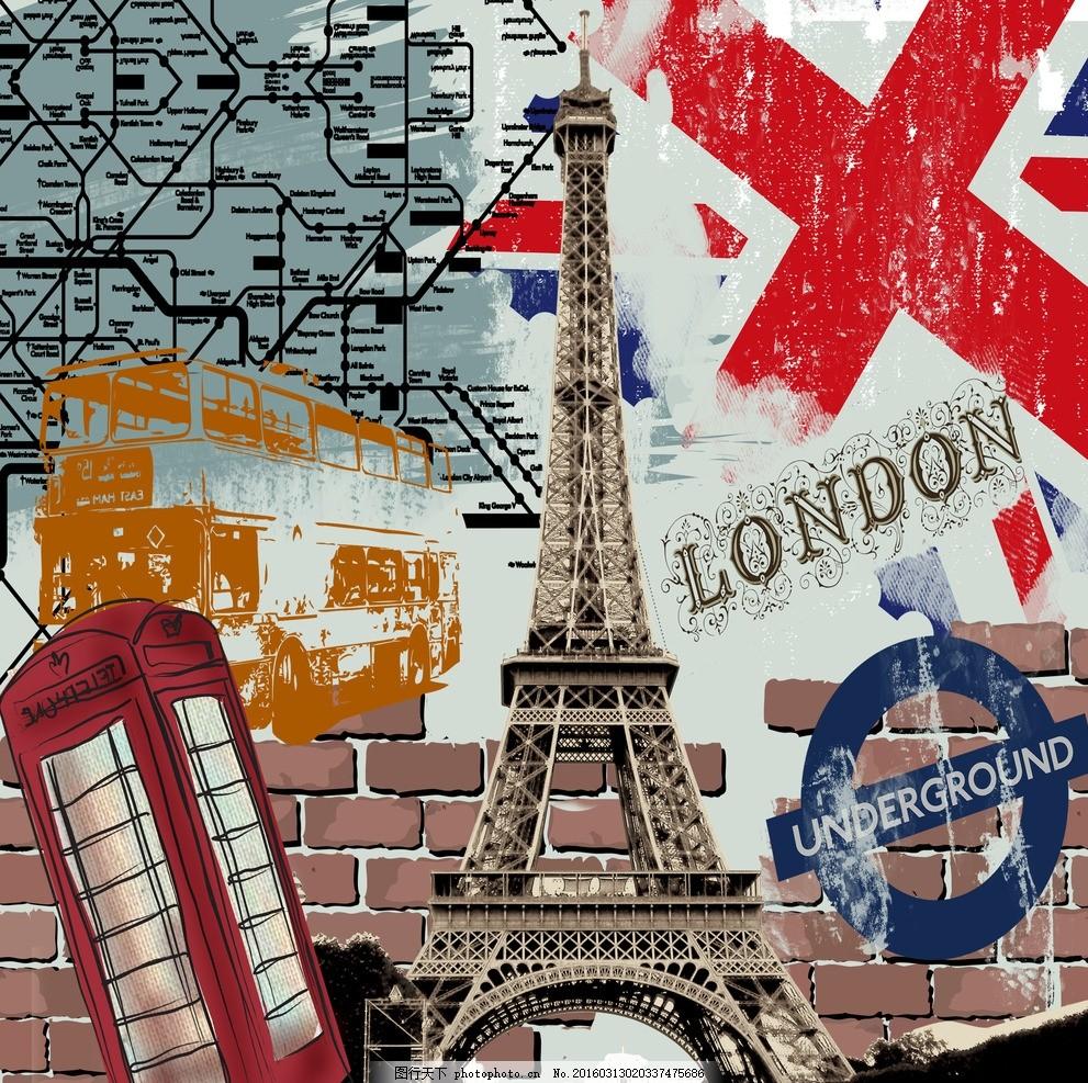英国铁塔建筑物 欧洲 英伦风 复古装饰画 室内装饰画 邮箱 铁塔 欧洲