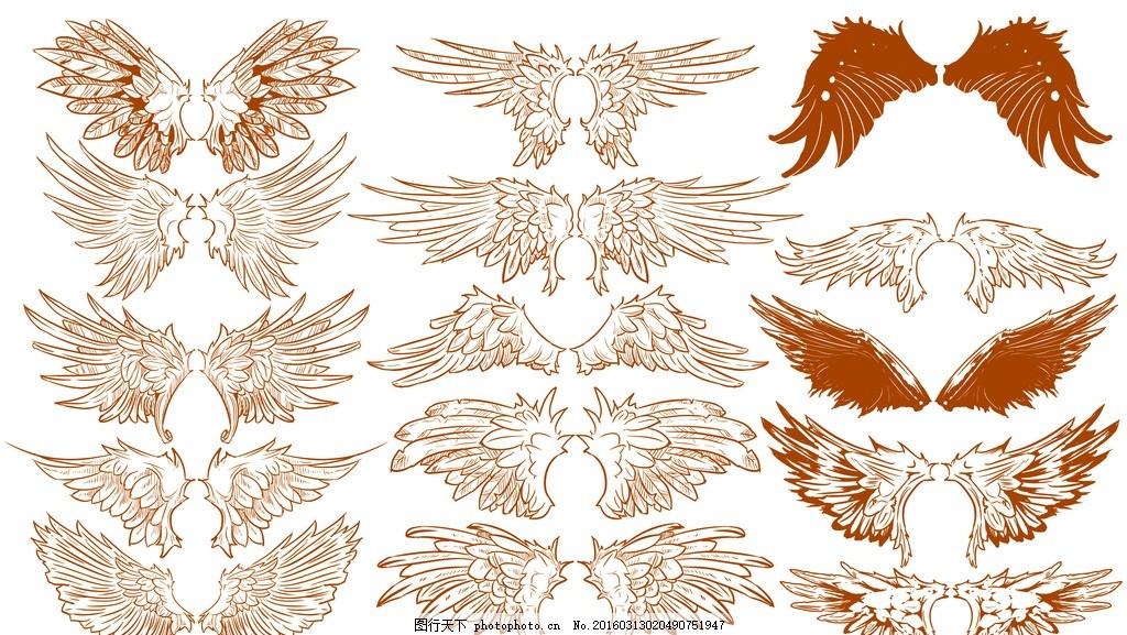 矢量翅膀 边框 线条 天使 笔画欧式元素