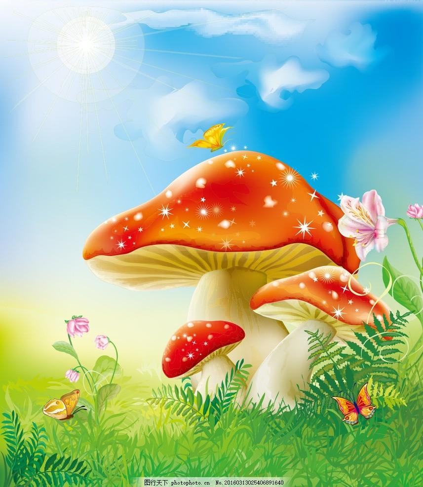 可爱蘑菇卡通墙纸