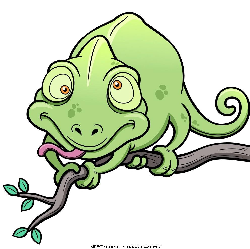 卡通变色龙 绿蜥蜴 动物素材