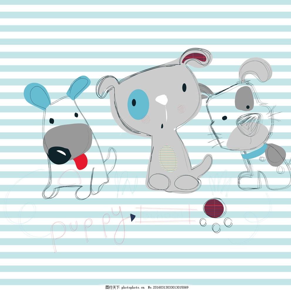 可爱卡通小狗儿童房电视墙壁纸 沙发背景墙 墙画 壁画 高清 分层