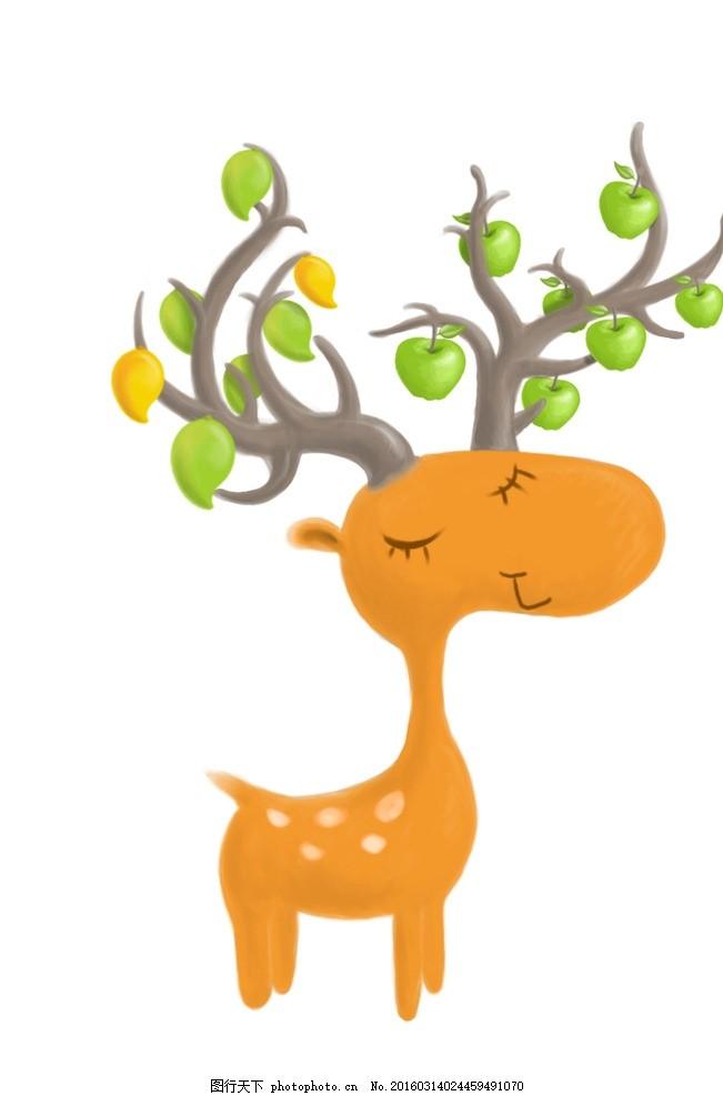 水果鹿吉祥物 吉祥物 鹿 水果 动物 小 设计 生物世界 野生动物 72dpi