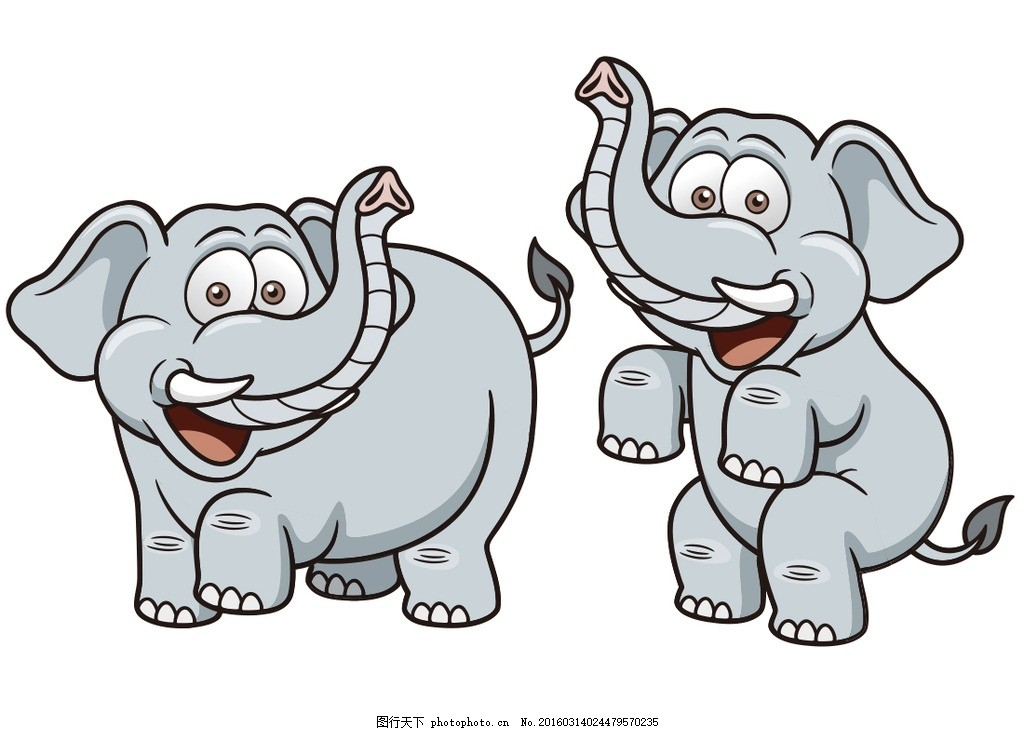 卡通动物矢量 卡通漫画 卡通插画 大象 可爱 矢量素材 其它