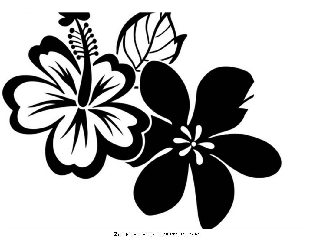黑白手绘花纹 插图 插画 装饰画 花卉