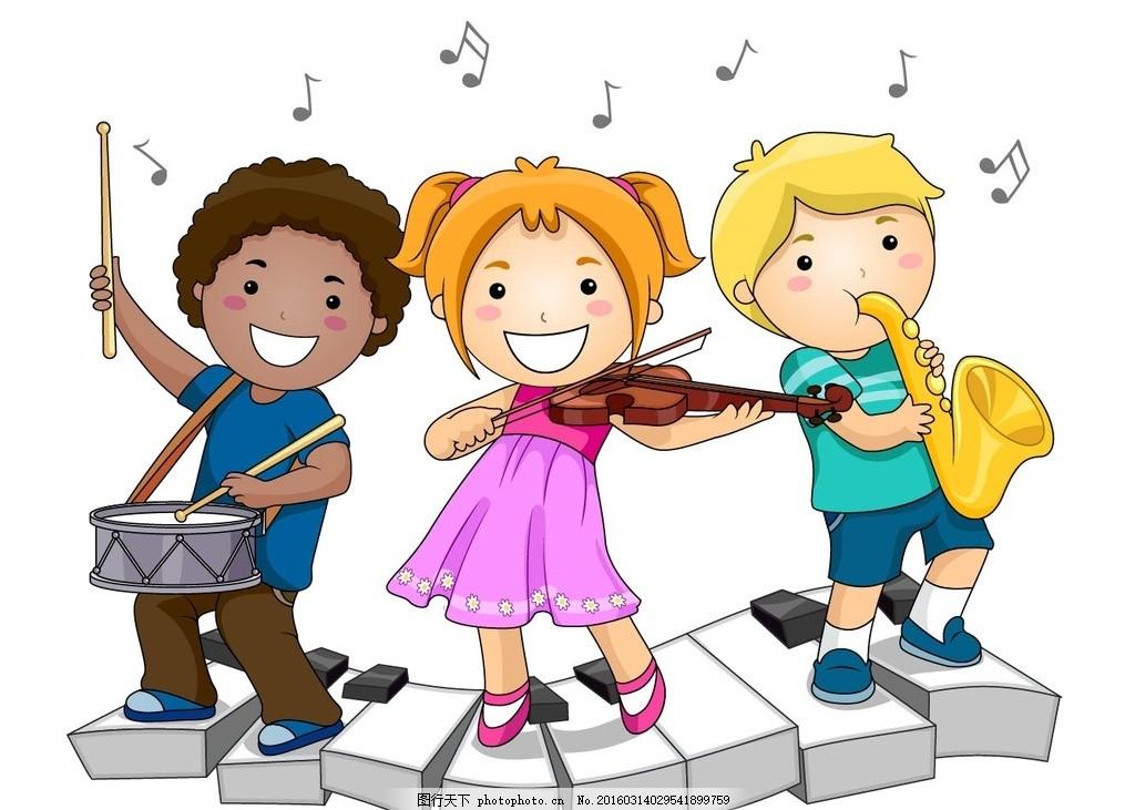 矢量儿童 卡通儿童 男孩女孩 音乐儿童 音符 键盘 打鼓 小提琴 萨卡斯