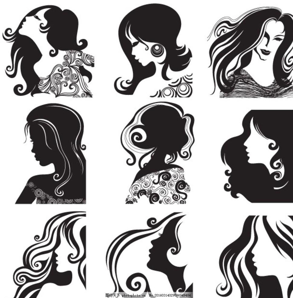 理发时尚 女性 花纹 女人 时尚 玫瑰花 剪影      侧面 头发 矢量素材