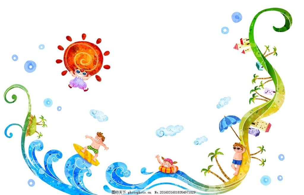 设计图库 动漫卡通 动漫人物  夏季海边冲浪 图片下载 夏季 夏天 大海