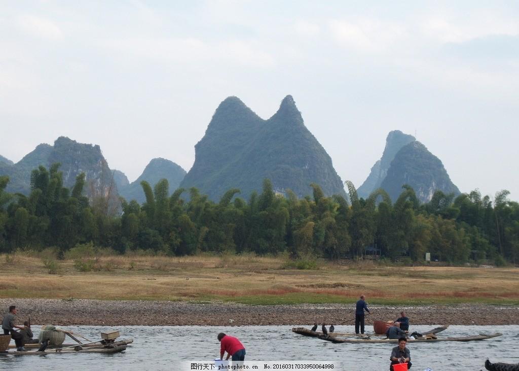 桂林阳朔漓江风景 渔船 渔民 旅游 旅游风景 摄影 国内旅游