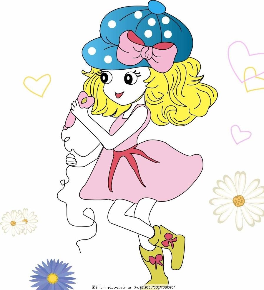卡通 小女孩 姑娘 高清 可爱 戴帽子 漂亮的 人物图库 其他