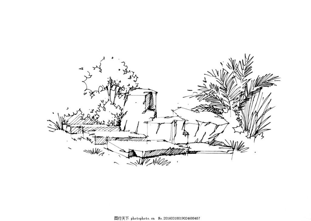 手绘素材 植物 手绘练习 景观手绘 室外植物 景观练习