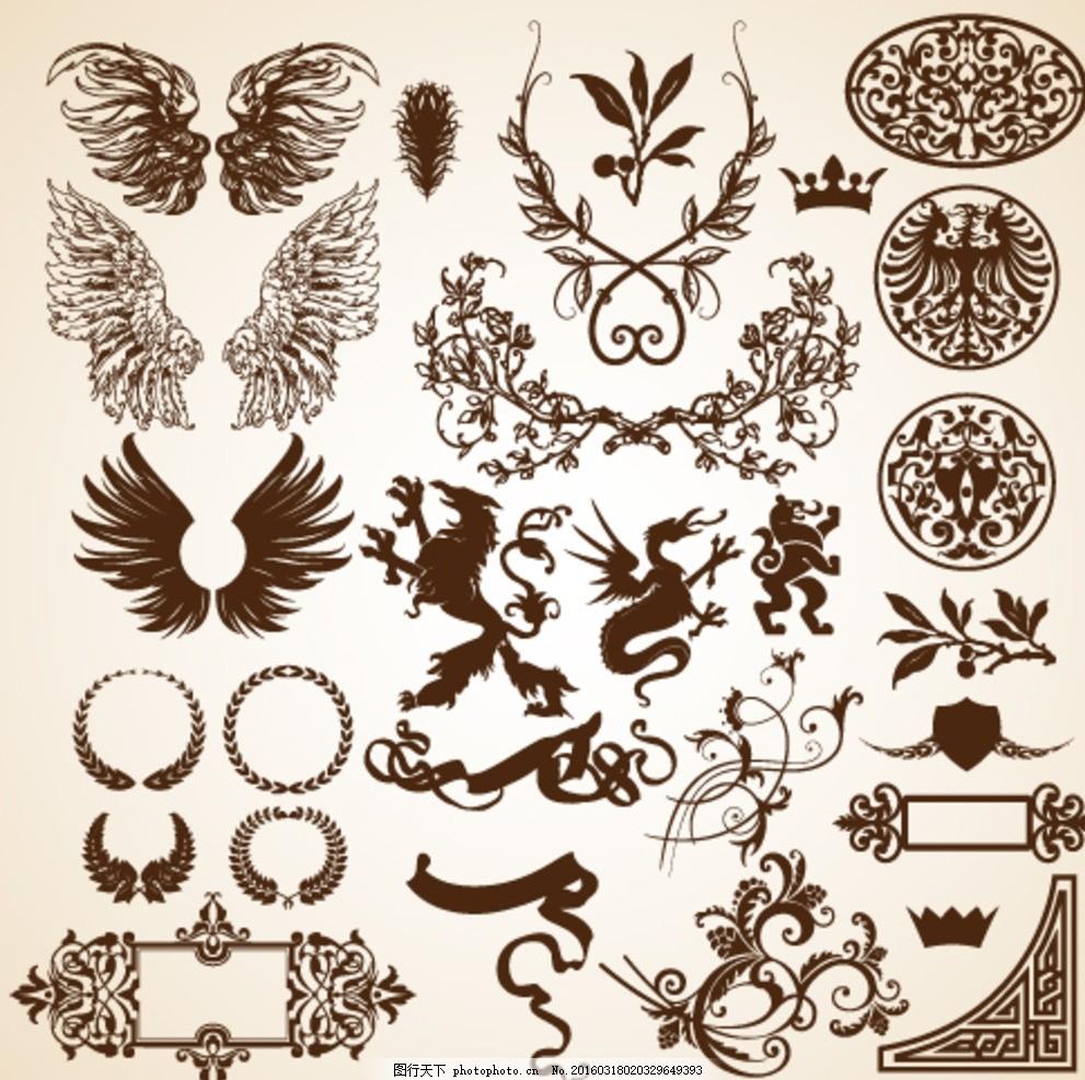 恶魔翅膀 图案 花纹 皇冠 王冠 叶子 草 花 设计 设计 底纹边框 花边