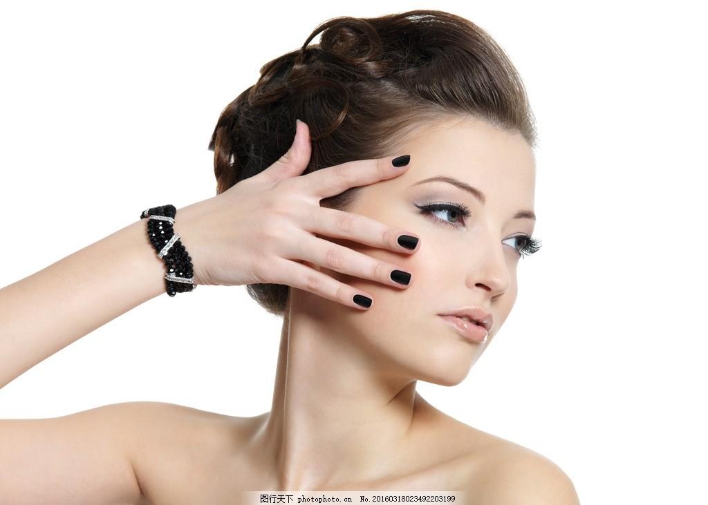 女人 侧脸 美甲 睫毛 美妆 模特 摄影 人物摄影