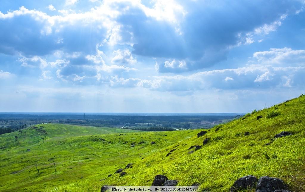 耶稣光 恋山坝上草原 蓝天白云绿地 坝上风光 摄影 自然景观 自然风景