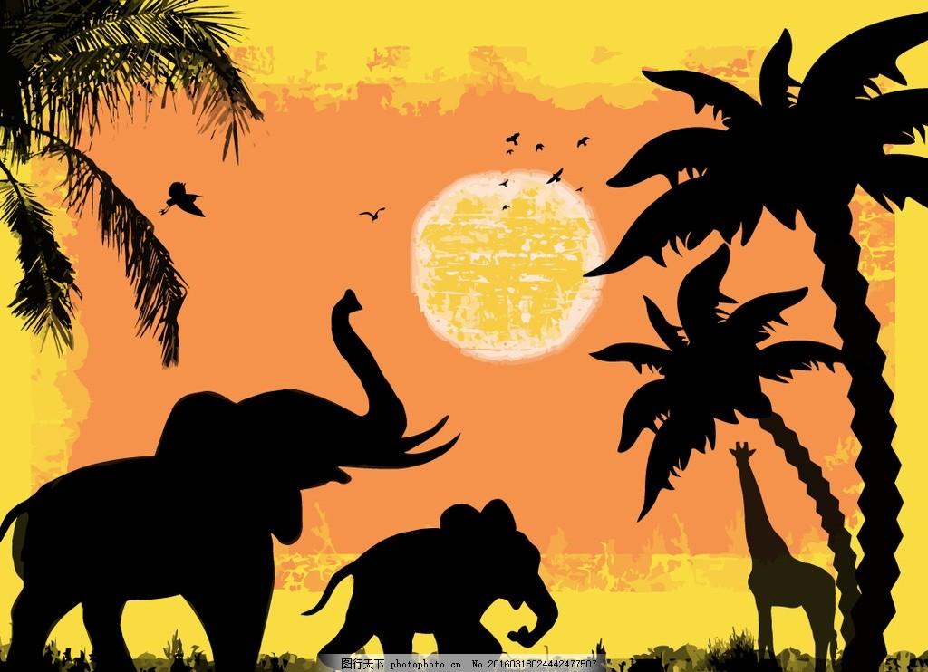 黄昏 树 树木 长颈鹿 椰子树 草原 非洲 设计 设计 生物世界 野生动物