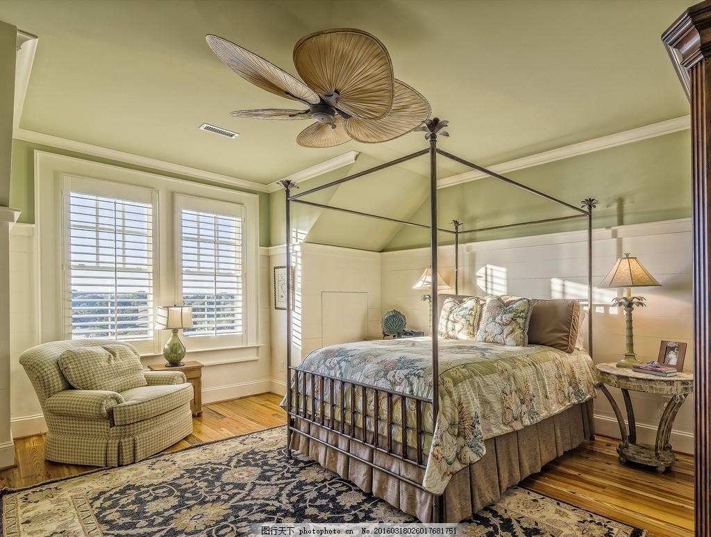 优雅的卧室设计 整齐 干净 房子 大床 室内 彩色墙面 欧式家装