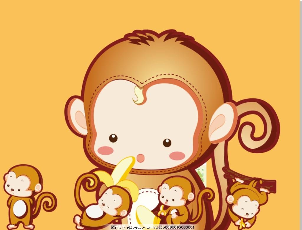 小猴子 动物 卡通 相框 背景