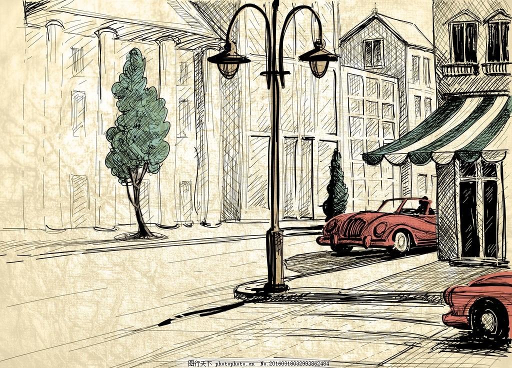 线条城市 简笔画 钢笔画 汽车 路灯 建筑 欧式 复古 怀旧