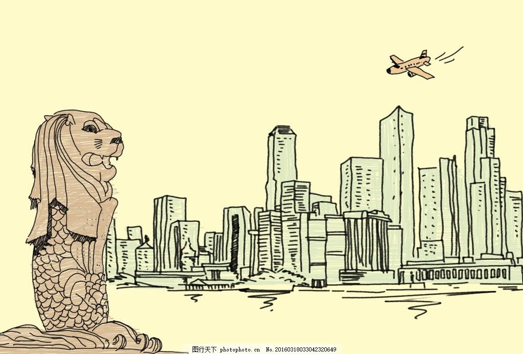 线条城市 线条 简笔画 城市 建筑 雕塑 抽象 原创 设计 psd分层素材