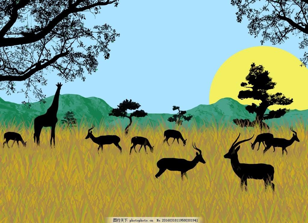 野生动物 动物 动物世界 动物剪影 长颈鹿 太阳 黄昏 树 树木 山 草原