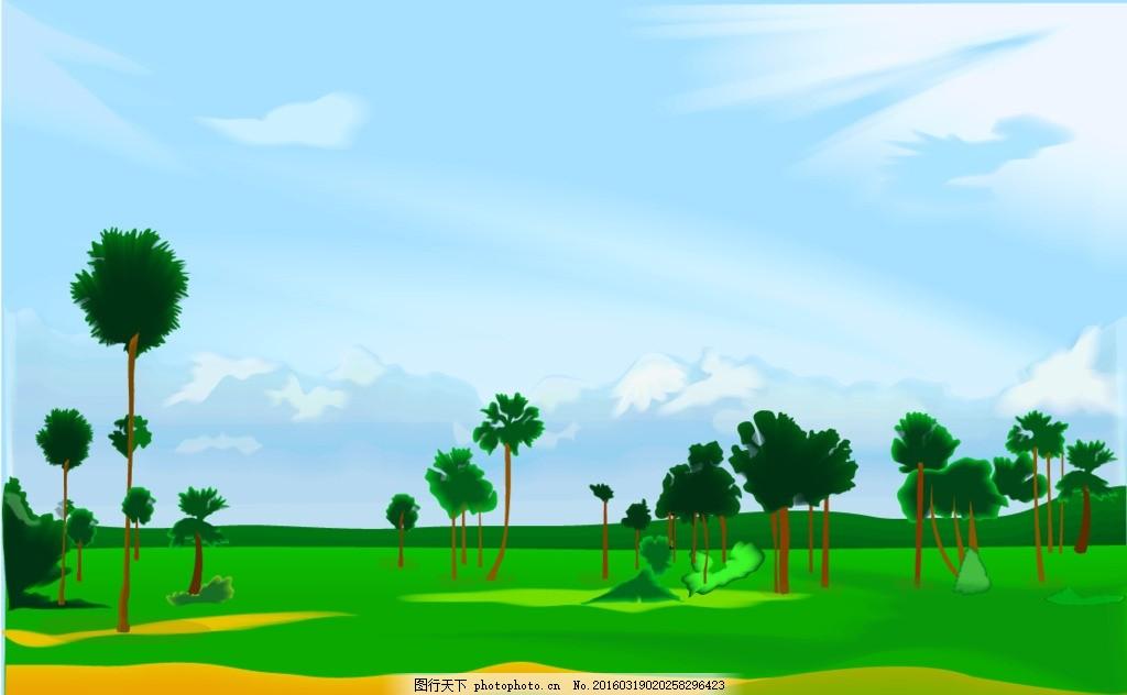 风景 卡通 矢量 矢量素材 矢量背景 绿色 大自然 树林 设计 底纹边框