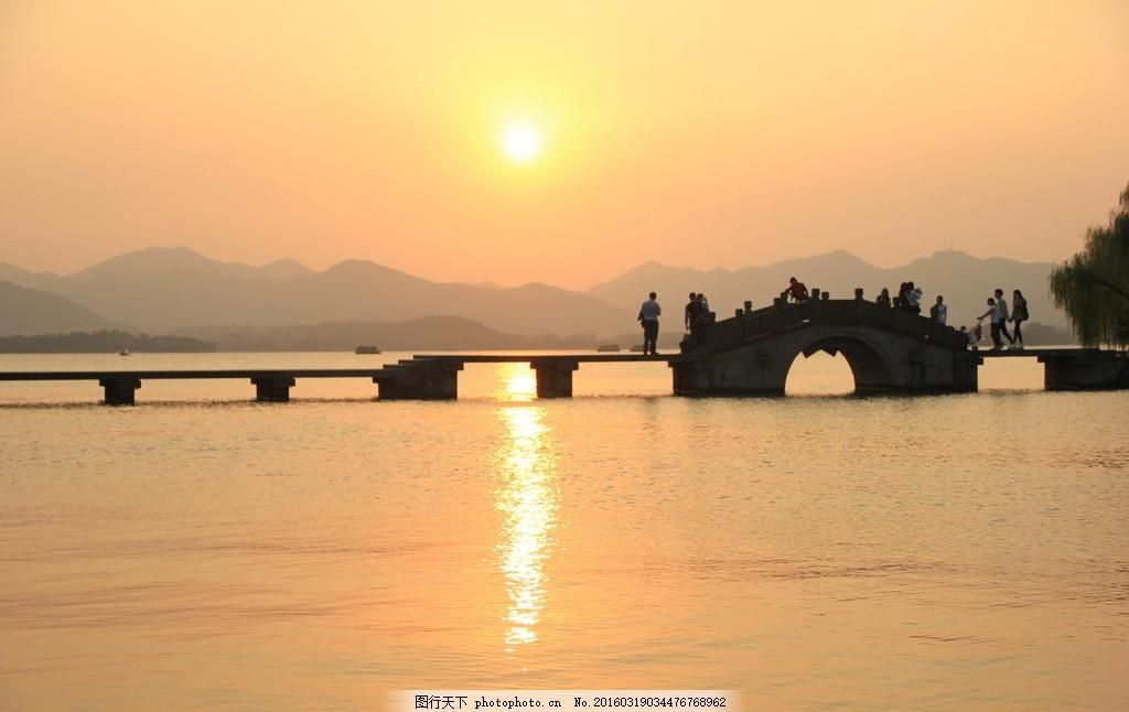 风景图 山水 西湖 风光 夕阳 摄影 自然景观 山水风景 72dpi jpg
