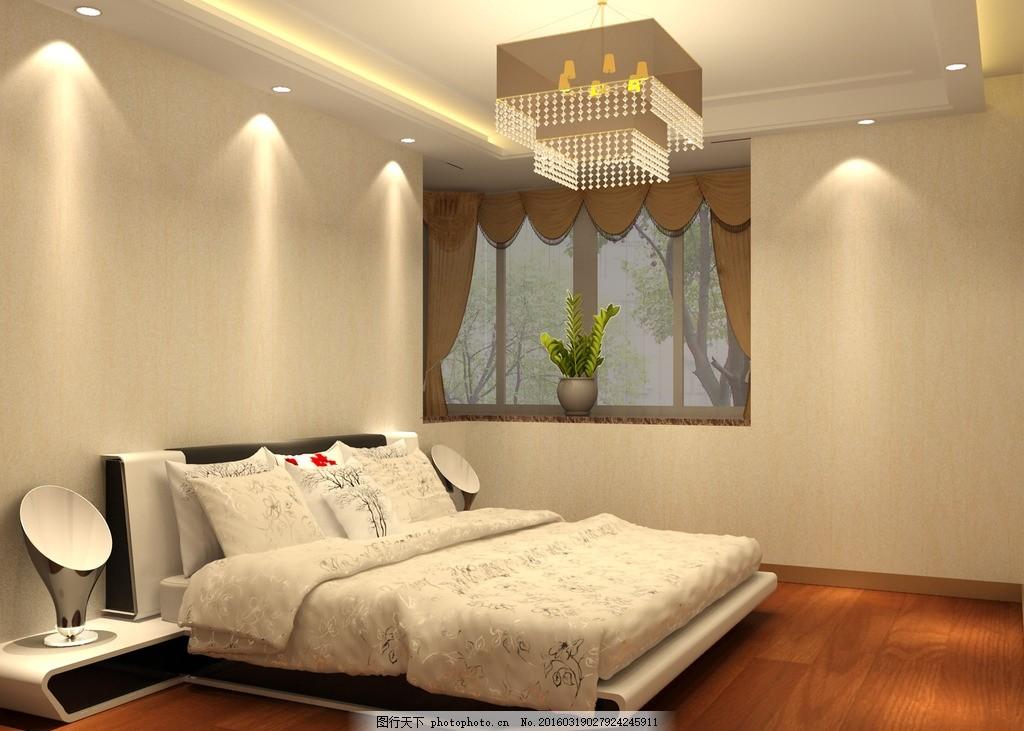室内效果图 床 地板 卧室吊顶 吊灯 筒灯 原创设计
