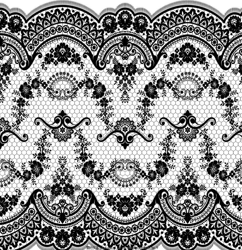 蕾丝花纹 白色蕾丝花边 边框 欧式花纹 花纹背景 时尚花纹 矢量花纹