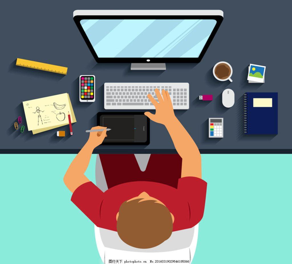 卡通设计师 电脑 尺子 手机 手绘板 草稿纸 咖啡 照片 鼠标