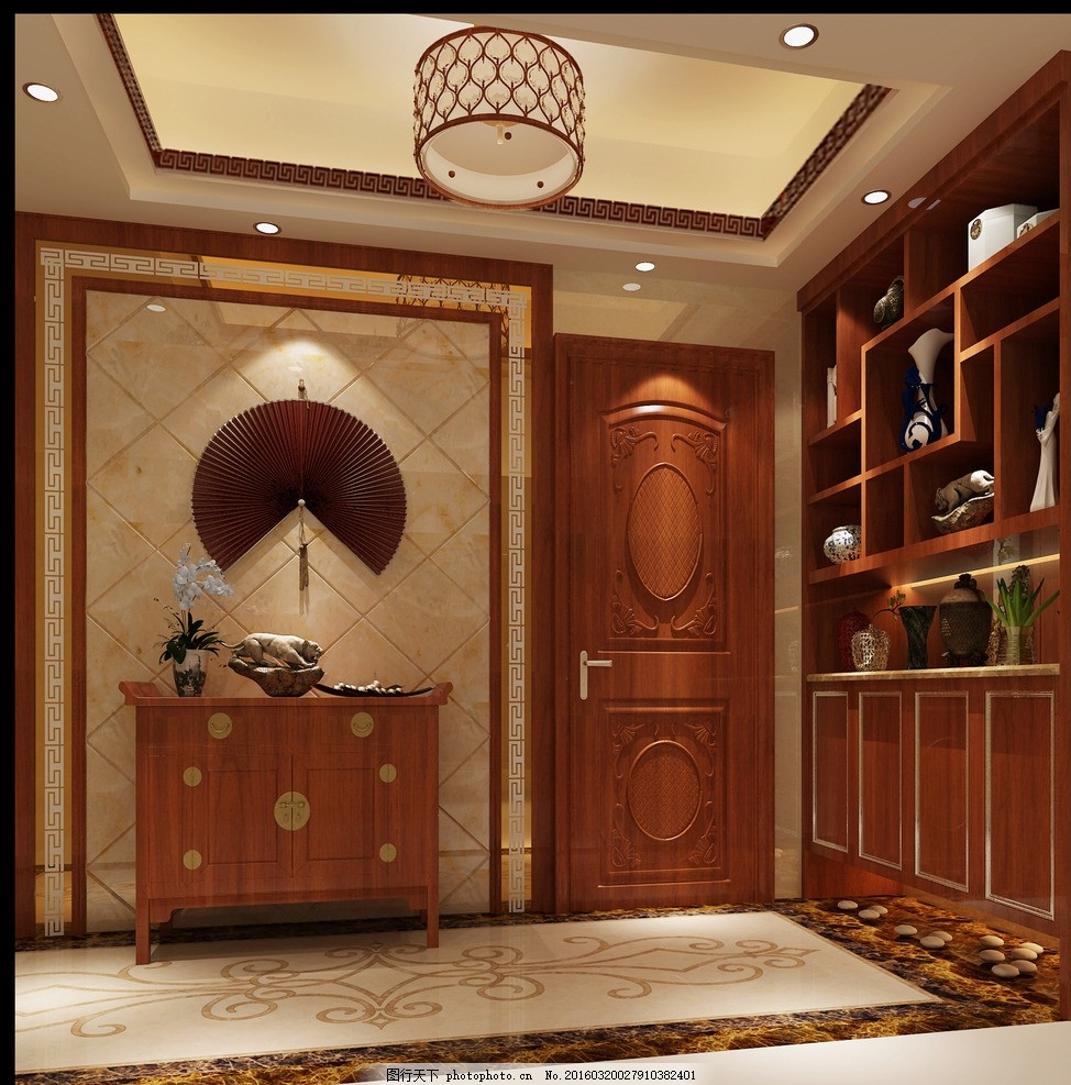 玄关 新中式 鞋柜 展示柜 装饰物 拼花 室内 设计 环境设计 室内设计
