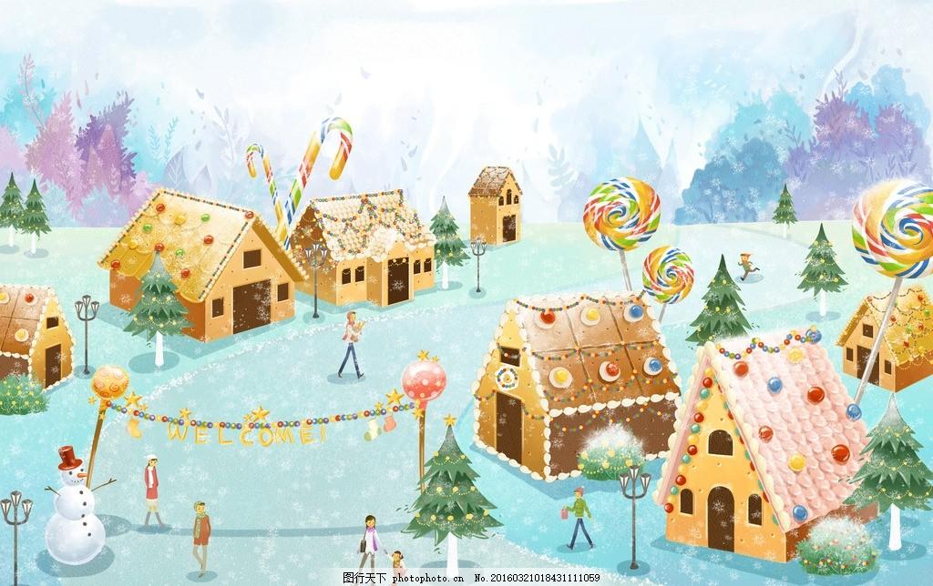 糖果屋 模版下载 糖果 棒棒糖 糖果世界 甜品 冬天 庆祝 节日 雪地