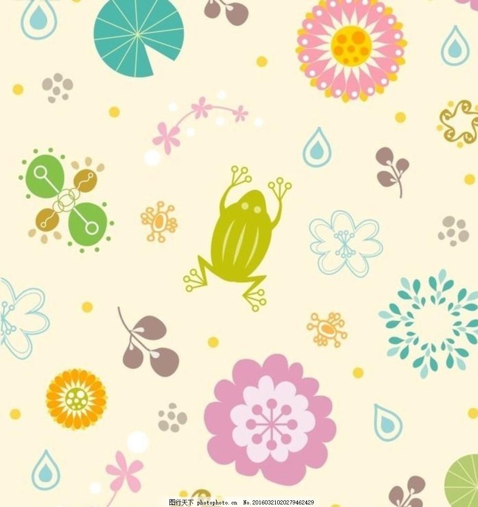 可爱的花草动物艺术插画 清新 淡雅 手绘 装饰画 插图 矢量素材