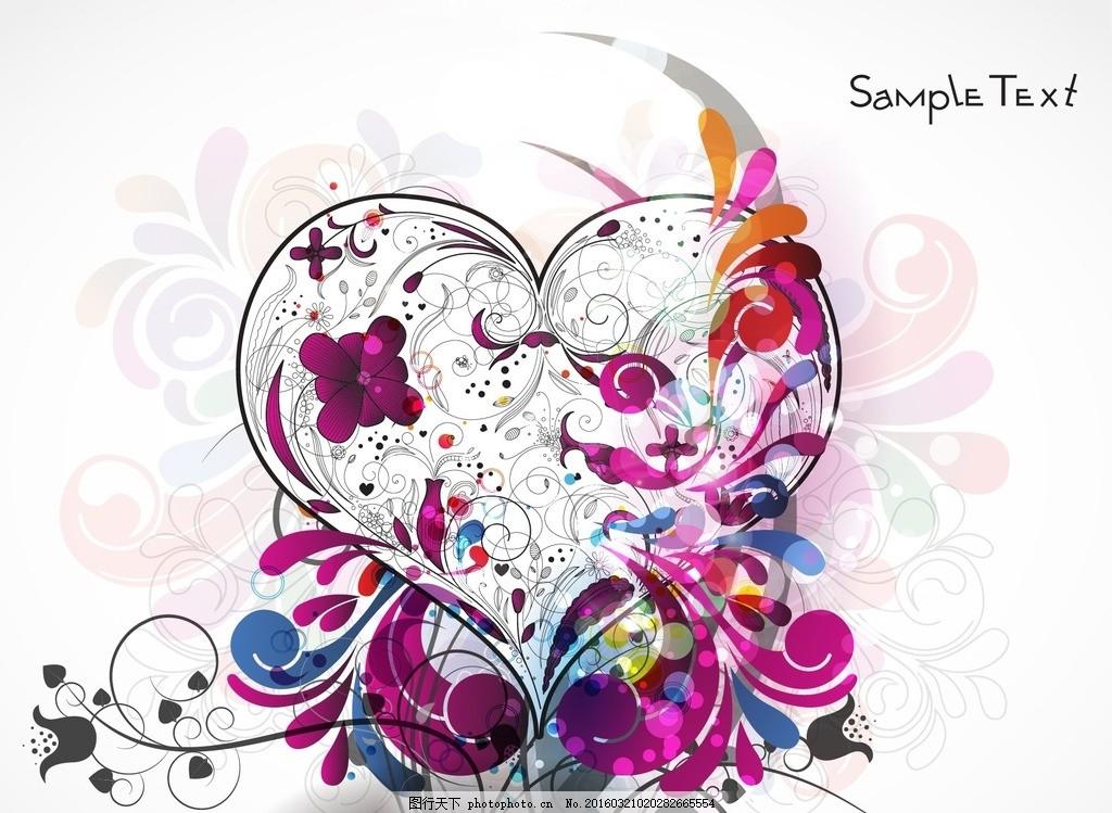 矢量花纹花朵爱心素材 图案 纹理 画框 元素 欧式花纹 音乐 温馨