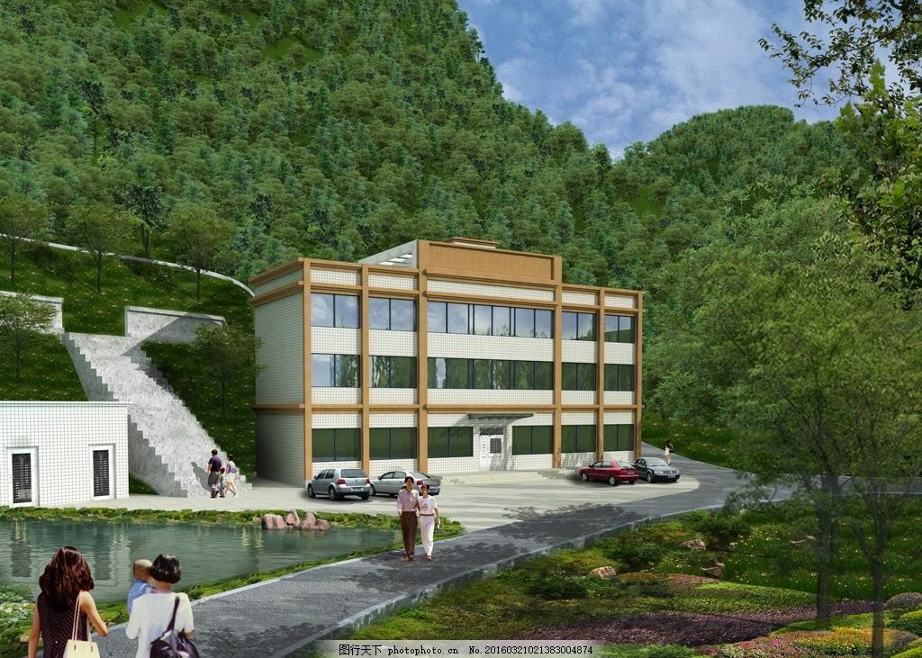 农村办公楼建筑效果图 建筑外观 景观建筑 建筑设计 源文件 室外效果