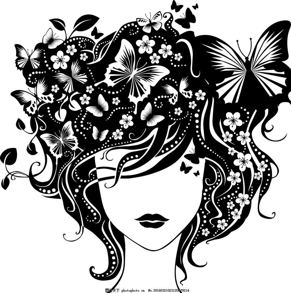 矢量蝴蝶花纹美女素材 图案 纹理 画框 元素 欧式花纹 音乐 地板