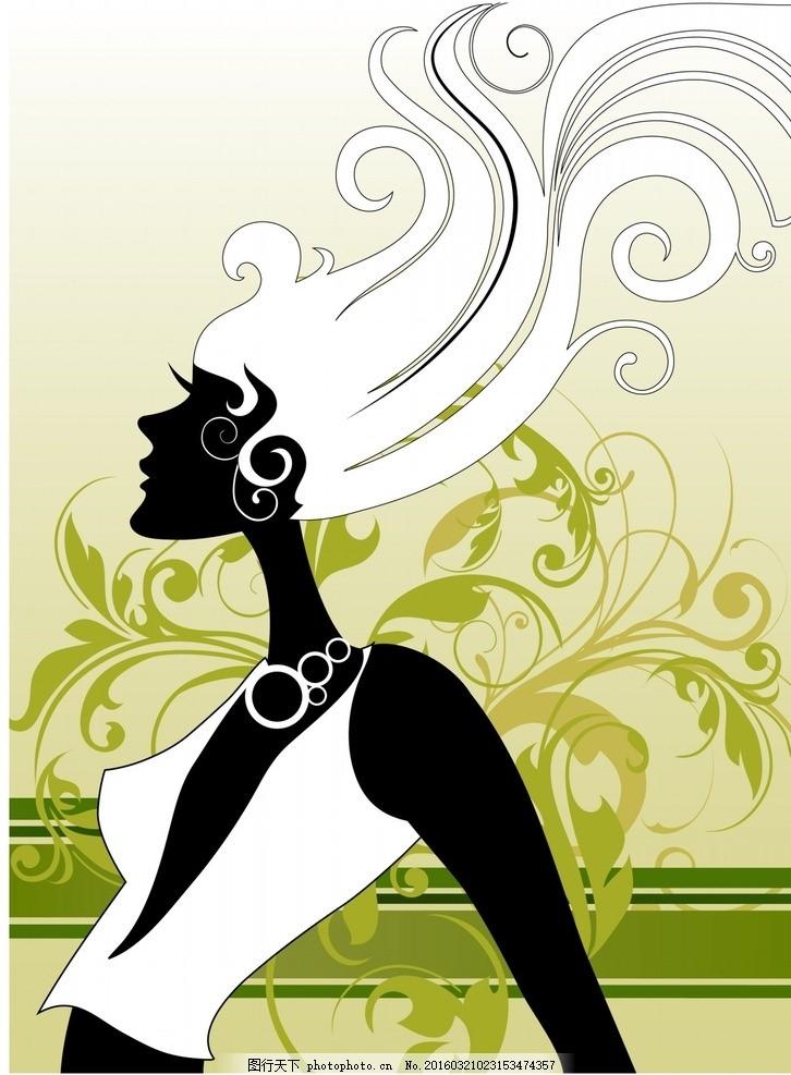 矢量唯美美女人物素材 图案 花纹 纹理 画框 元素 欧式花纹 音乐