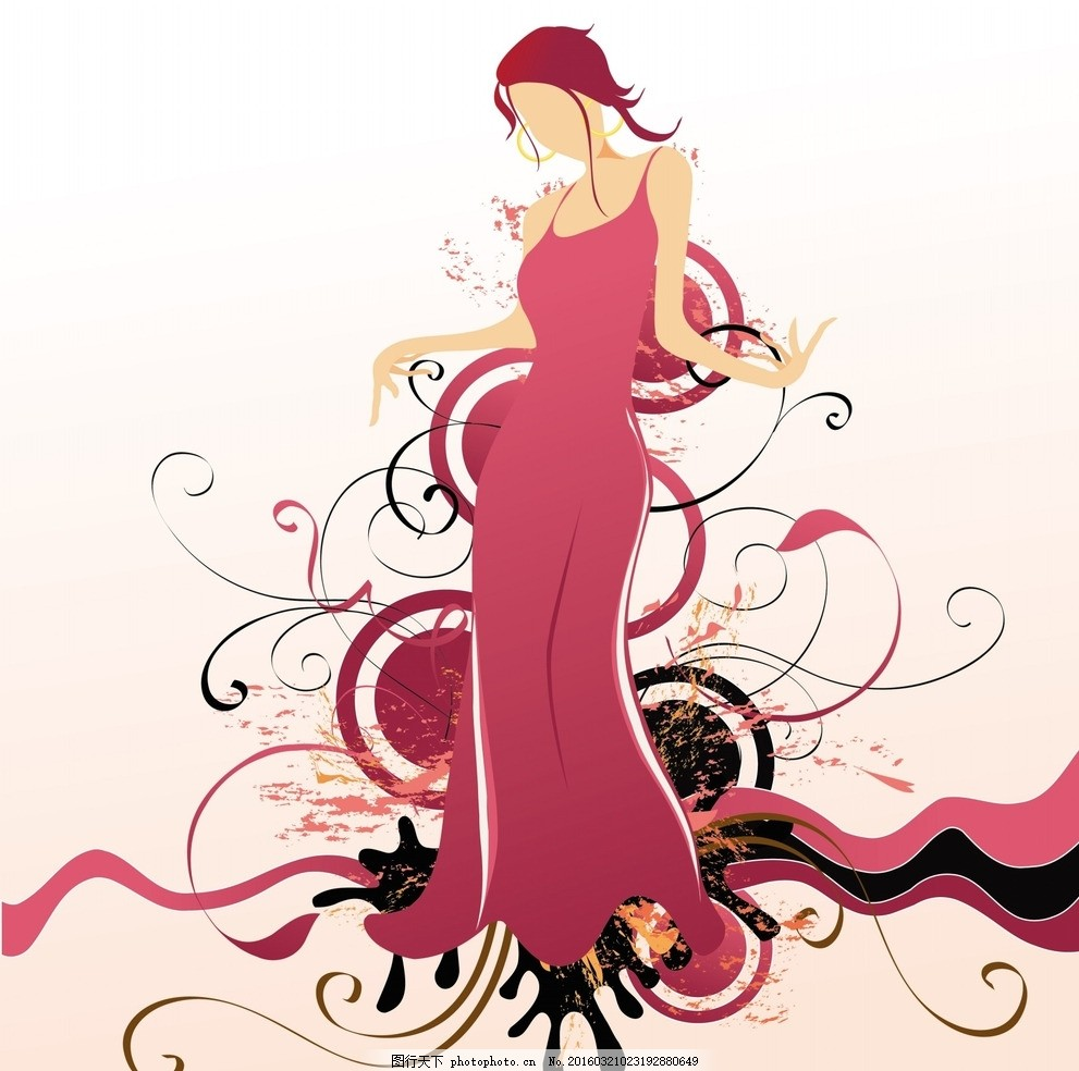 矢量时尚美女人物素材 图案 花纹 纹理 画框 元素 欧式花纹 音乐