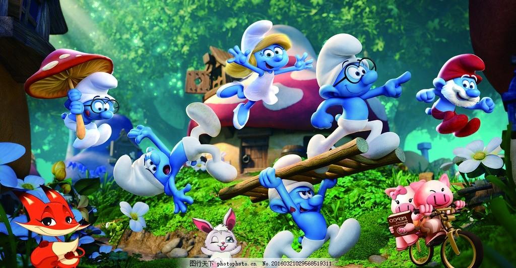 蓝精灵主题幕布 小猪 狐狸 舞台背景 蘑菇 黑森林 蘑菇房 小兔子