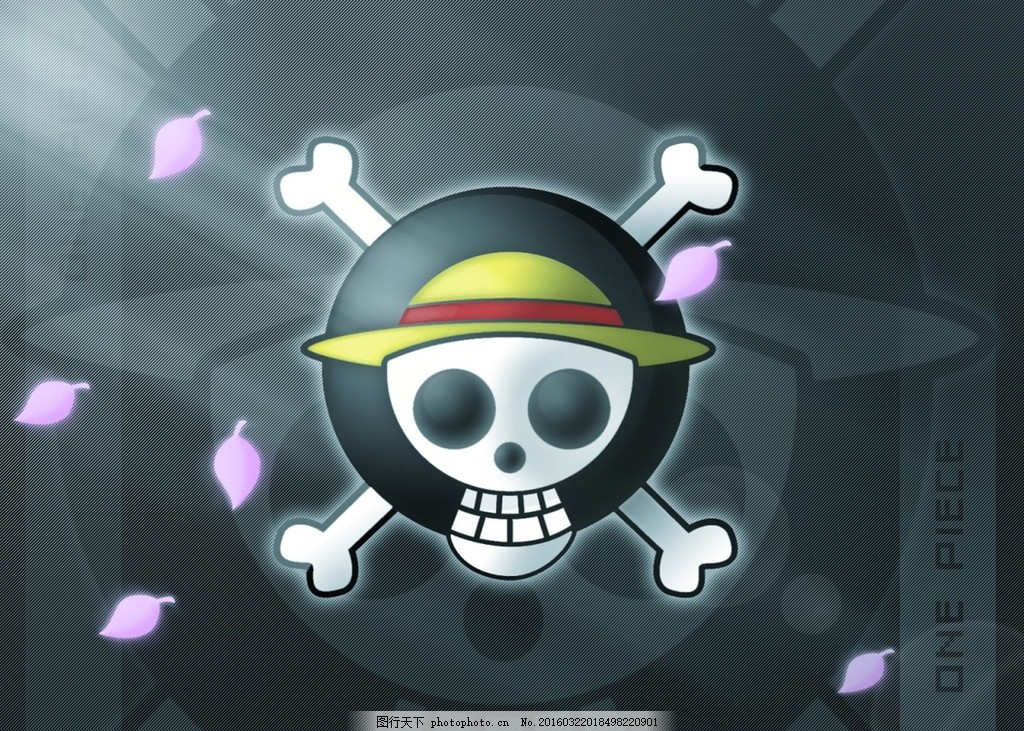 草帽logo 海贼王 路飞 骷髅 旗帜 动漫 卡通 樱花 航海王