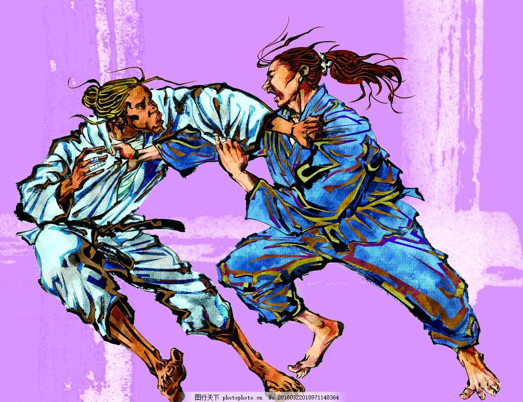 模版下载 手绘人物 柔道 运动员 搏击 散打 跆拳道 搏击运动员 泰拳