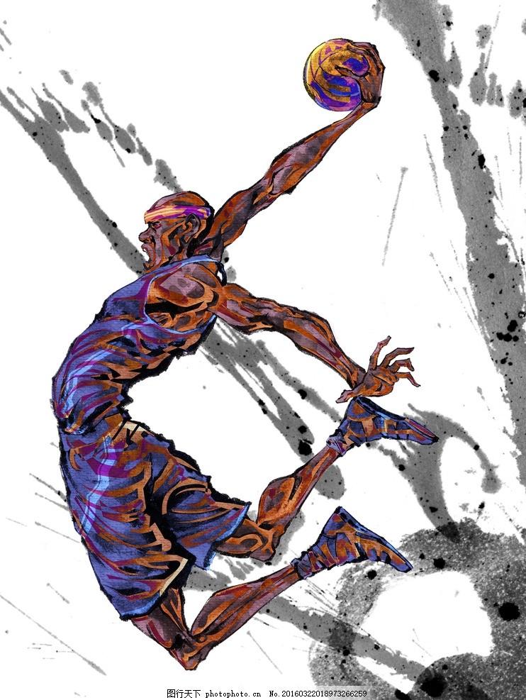 手绘人物篮球运动员