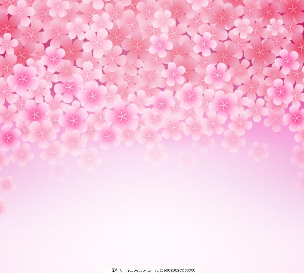 粉色樱花花朵背景矢量素材 花卉 爱心 手绘玫瑰 214 花 精美边款 边款