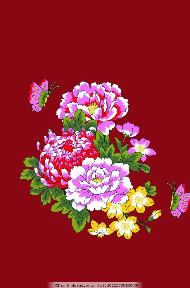 手绘牡丹 牡丹花 红色花 蝴蝶花 花朵