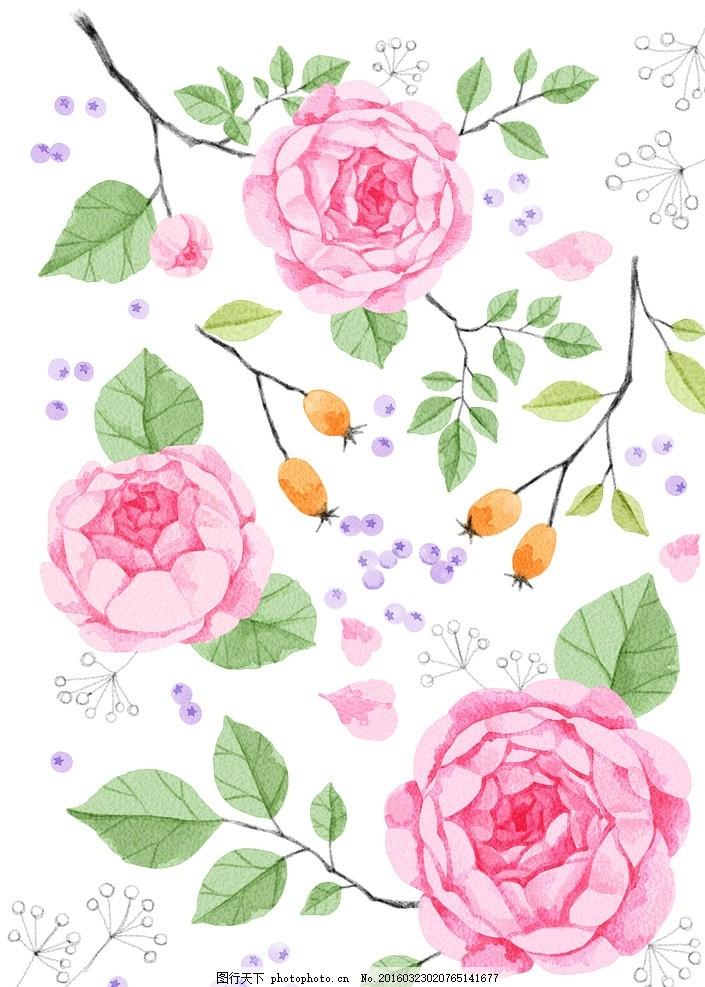 花朵 图片下载 花朵移门 玫瑰 鲜花 蝴蝶 花藤 叶子 浪漫 粉色