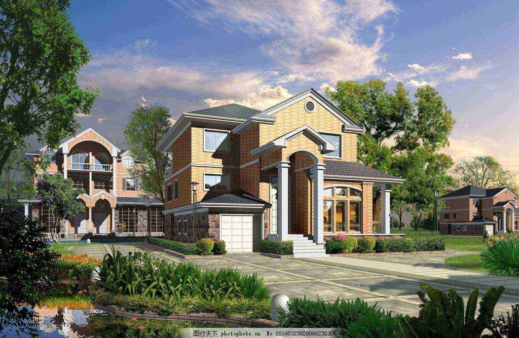 別墅 室外 園林 景觀 二層樓 設計 環境設計 建筑設計 72dpi psd
