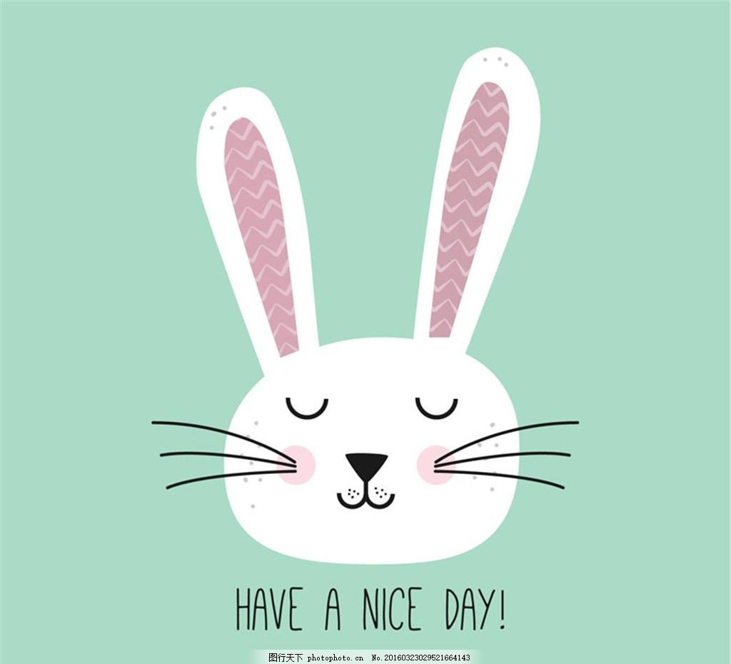 兔子 插画 卡通 白兔 动物      矢量图 设计 广告设计 广告设计 eps